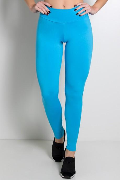 Calça Legging Lisa com Fecho na Perna (Azul Celeste) | Ref: KS-F157-004
