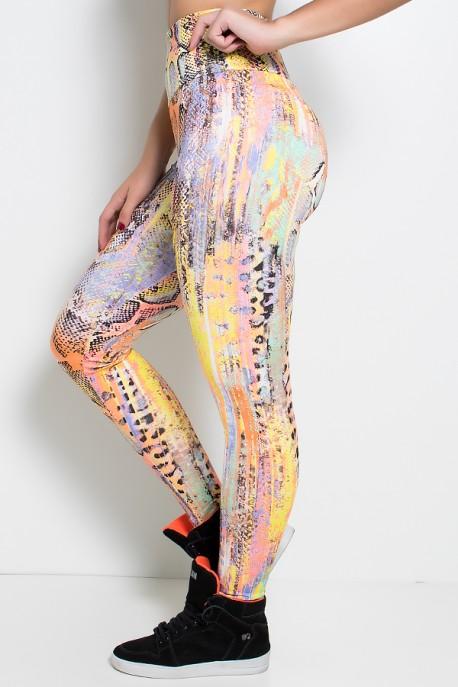 Legging Estampada (Escama Preta com Amarelo Laranja e Roxo) | Ref: KS-F27-104