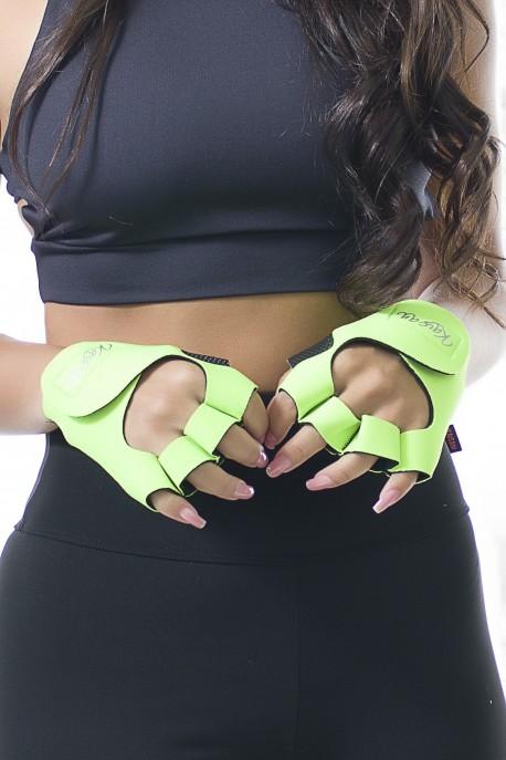 Luva para Academia Unissex (Verde Limão) | Neoprene | Logo Refletiva Kaisan | (O Par) | Ref: KS-F48-005