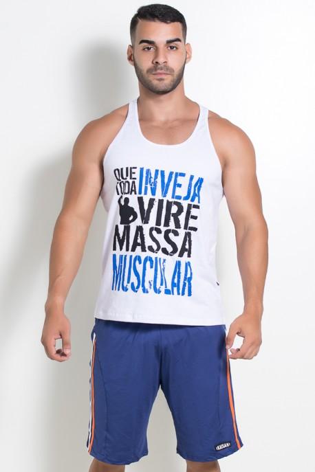 Camiseta Regata (Que Toda Inveja Vire Massa Muscular) (Branco)   Ref: KS-F520-001