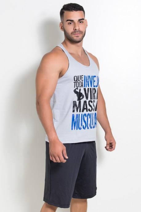 Camiseta Regata (Que Toda Inveja Vire Massa Muscular) (Cinza)   Ref: KS-F520-004
