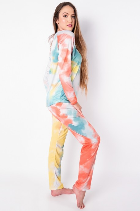 Pijama de Manga Longa Raglan Estampa Digital (Tie Dye 3) | Ref: K2778