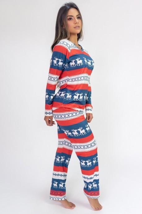 Pijama de Manga Longa Raglan Estampa Digital (Moose) | Ref: K2801