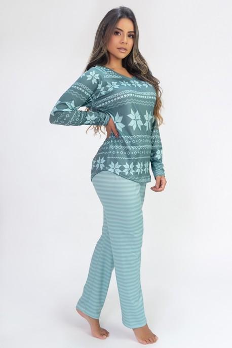 Pijama de Manga Longa Raglan Estampa Digital (Green Flake) | Ref: K2807