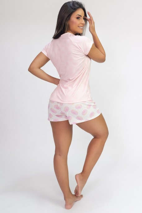 Pijama de Manga Curta e Short Estampa Digital (Donut & Coffee) | Ref: K2817