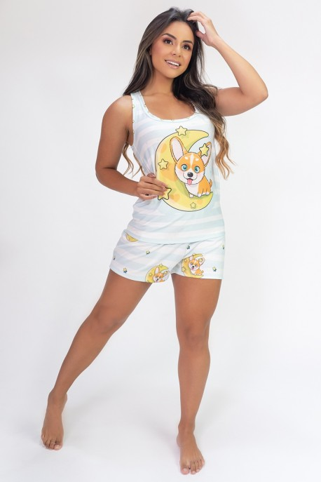 Pijama Camiseta Nadador e Short Estampa Digital (Moon Dog) | Ref: K2821