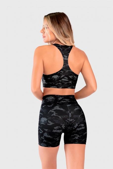 Short Fitness Meia Perna Estampa Digital Camouflaged Black   Ref: GO234-A