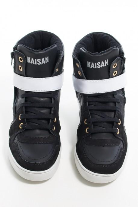 Sneaker Unissex Preto com Branco (Sola Branca)   Ref: KS-T34-002