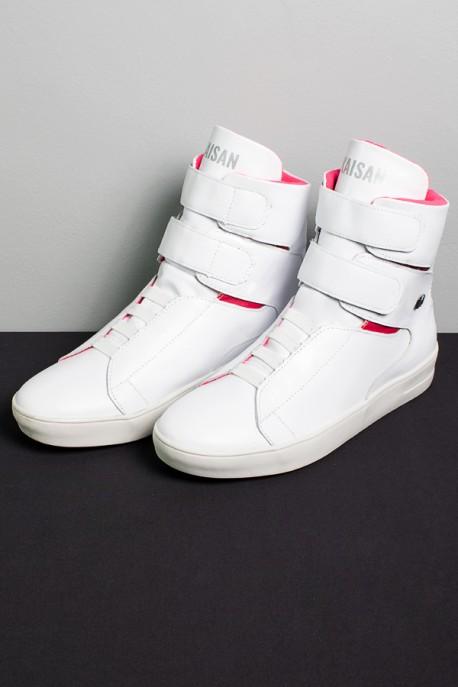 Sneaker Cano Alto com Velcro (Branco / Rosa Pink)   Ref: KS-T47-001