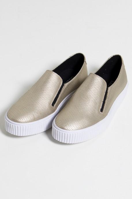 Tênis Slipper Metalizado (Dourado / Branco) 786-04   Ref: KS-T79-001