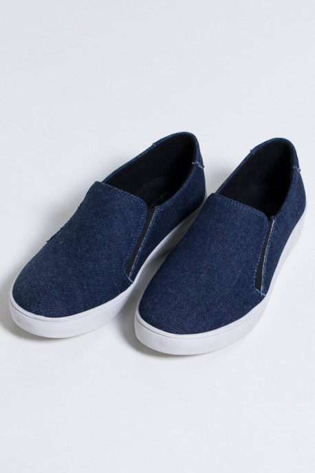 Tênis Slipper Lona Jeans (Jeans / Branco) 786-03   Ref: KS-T81-001