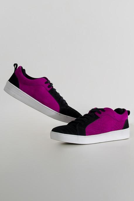 Mini Sneakers Nobuck Escama Rosa (Rosa / Preto)   Ref: KS-T60-001