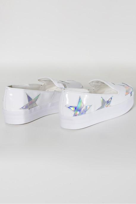 Tênis Slip On Flatform com Detalhe Holográfico (Branco)   Ref: KS-T64-001