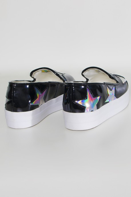 Tênis Slip On Flatform com Detalhe Holográfico (Preto)   Ref: KS-T64-002