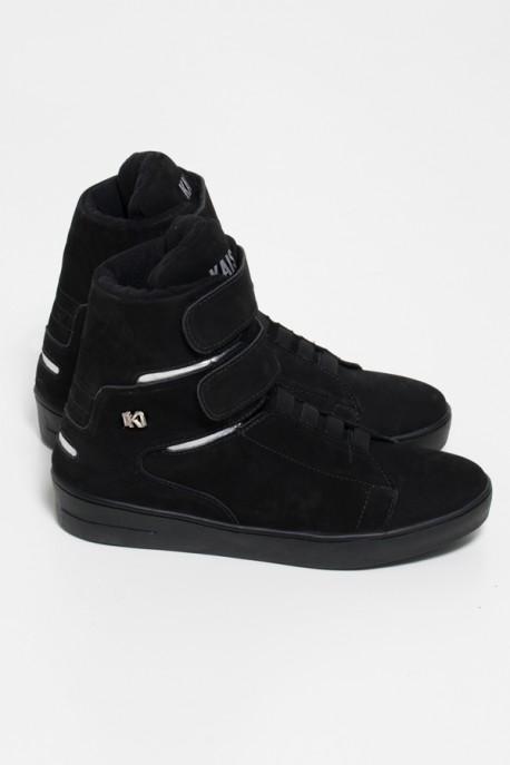 Sneaker Cano Alto Nobuck com Velcro (Preto / Prata)   Sola Preta   Ref: KS-T46-004