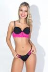 Conjunto Monica 2372 (Preto e Rosa Pink)| KS-B205-001