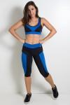 Conjunto Fitness Corsário Preto com Azul Royal | Ref: KS-F14-002