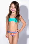 Biquini Infantil Tomara Que Caia com Bojo | Calcinha Estampada (Verde Esmeralda / Centopeias Coloridas) | Ref: DVBQ28-001