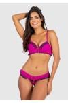 Conjunto Dara 2381 (Rosa Pink com Preto) | Ref: KS-B204-003