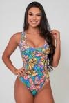Body Nadador Estampado (Folhas Verde Rosa e Amarelo) | Ref: K2590-F