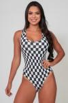 Body Nadador Estampado (Quadriculado Preto e Branco) | Ref: K2590-N