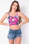 Cropped de Alcinha Estampa Digital Tie Dye (Pink / Roxo) | Ref: K2825-A