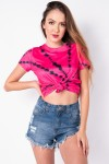 Blusa Básica com Nozinho Estampa Digital Tie Dye (Pink / Preto) | Ref: K2829-J