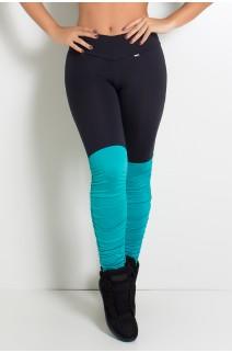 Calça Legging Duas Cores com Perna Franzida (Preto / Verde esmeralda) | Ref: KS-F1792-003