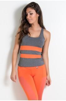 Camiseta Mescla com Detalhe Liso (Laranja) | Ref: KS-F494-004