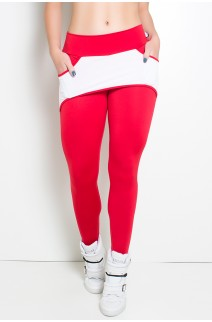 Calça Katherine com Bolso em Detalhe Dry Fit (Vermelho / Branco) | Ref: KS-F690-002