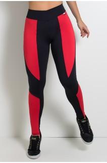 Calça Montaria Duas Cores (Preto com Vermelho) | Ref: KS-F46-002