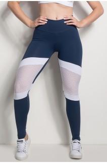 Calça 2 Cores Com Detalhe Em Tela (Azul Marinho / Branco) | Ref: CAL426-003/002/000