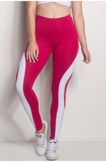 Calça Cós Regular Com Detalhe Em Tela (Rosa Pink / Branco) | Ref: CAL429-006/002/002