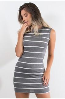 Vestido Listrado Curto (Cinza) | Ref: CEZ-CZ600-001