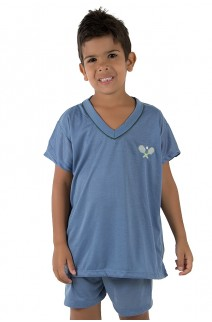Pijama infantil mas. Curto 037 (Azul Acinzentado) CEZ-PA037-005