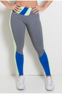 Calça Mescla com Detalhe no Cós e Perna Duas Cores (Mescla - Verde Claro - Azul Royal) | Ref:F1864-001