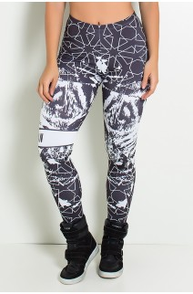 Legging Tiger Force Preto e Branco Sublimada | Ref: F1887-001