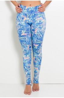 Calça Legging Estampada com Pezinho (Rabiscos Fluorescentes com Azul) | Ref:F192-005