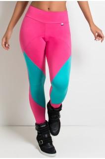 Calça 2 Cores com Recorte (Rosa Pink  / Verde Esmeralda) | Ref:F2188-001