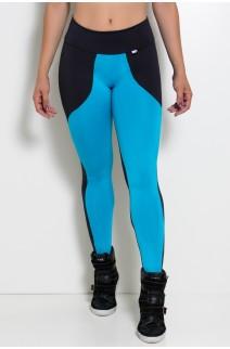 Calça Legging Duas Cores (Preto / Azul Celeste) | Ref: F29-004