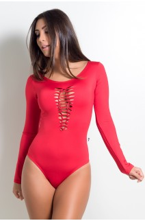 Body Manga Longa Liso com Detalhe Trançado (Vermelho)   Ref:F688-003