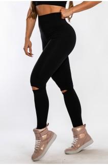 Calça Legging Lisa com Abertura no Joelho (Preto) | Ref: KS-F1611-001