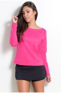 Blusa de Moletim Manga Longa com Gola Larga (Rosa Pink) | Ref: KS-F1839-001