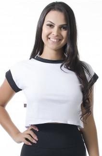 Blusa de Malha Duas Cores com Silk nas Costas (Branco / Preto) | Ref: KS-F2101-001