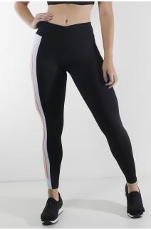 Calça Duas Cores com Cós em V e Silk (Preto / Branco)   Ref: KS-F2143-001