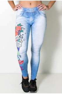 Legging Floral com Corações Sublimada | Ref: KS-F2185-001