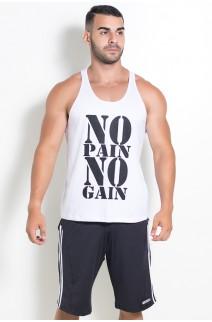 Camiseta Regata (No Pain No Gain) (Branco) | Ref: KS-F524-001