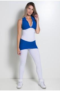 Macacão Tecido Bolha 2 Cores (Branco / Azul Royal) | Ref: KS-F598-001