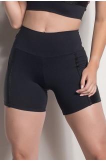 Short Cós Regular Com Detalhe Em Textura (Preto) | Ref: SRT118-001/001/000