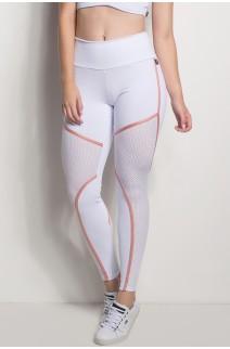 Calça Cós Regular Com Detalhe Em Tela (Branco) | Ref: CAL424-002/002/000